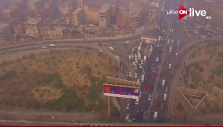 on live  تنقل حالة المرور من الطريق الدائرى وميدان لبنان بطائرات  الدرون  - انفراد