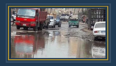 مياه الصرف تغرق شوارع قرية نوب الطريف