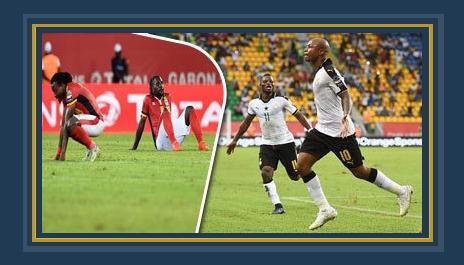 جانب من المباراة بين غانا وأوغندا