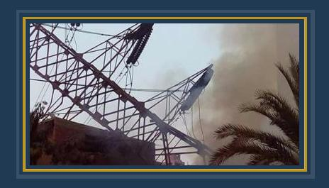 برج الضغط المنهار فى جسر السويس