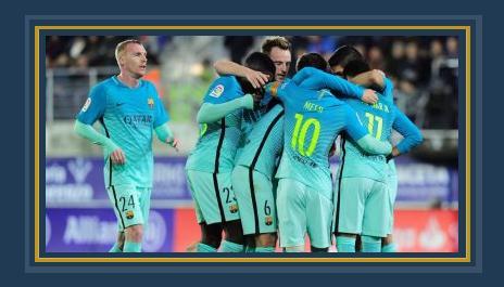 احتفال نجوم برشلونة