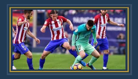 جانب من مباراة برشلونة وأتلتيكو مدريد