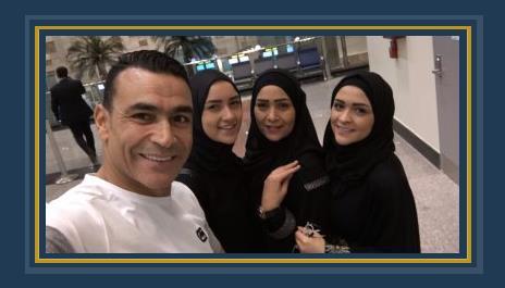 الحضرى وبناته فى مطار القاهرة