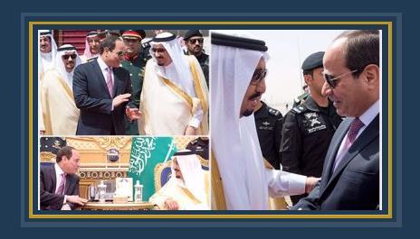 الملك سلمان لدى استقبال الرئيس السيسى بالمطار