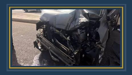 تهشم السيارة نتيجة الحادث