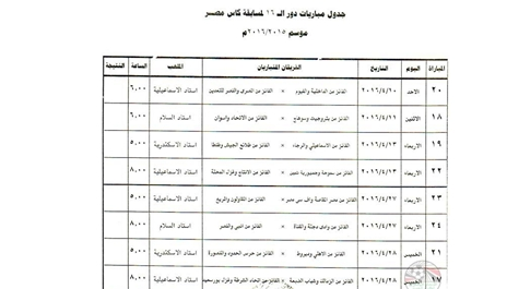 انفرد جدول مباريات كاس مصر دور الـ 16 كأس مصر كاس مصر